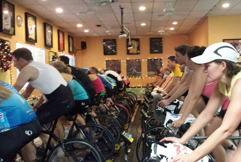 Indoor cycling training at Hefler Performance Coaching